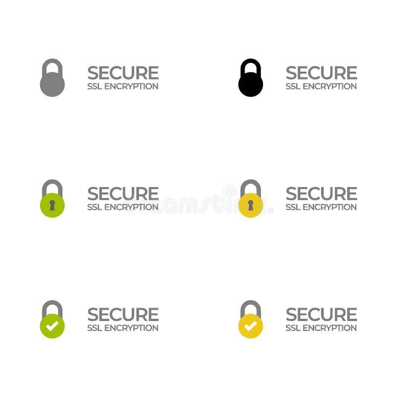 Etiqueta segura /button /bar da criptografia do SSL ilustração royalty free