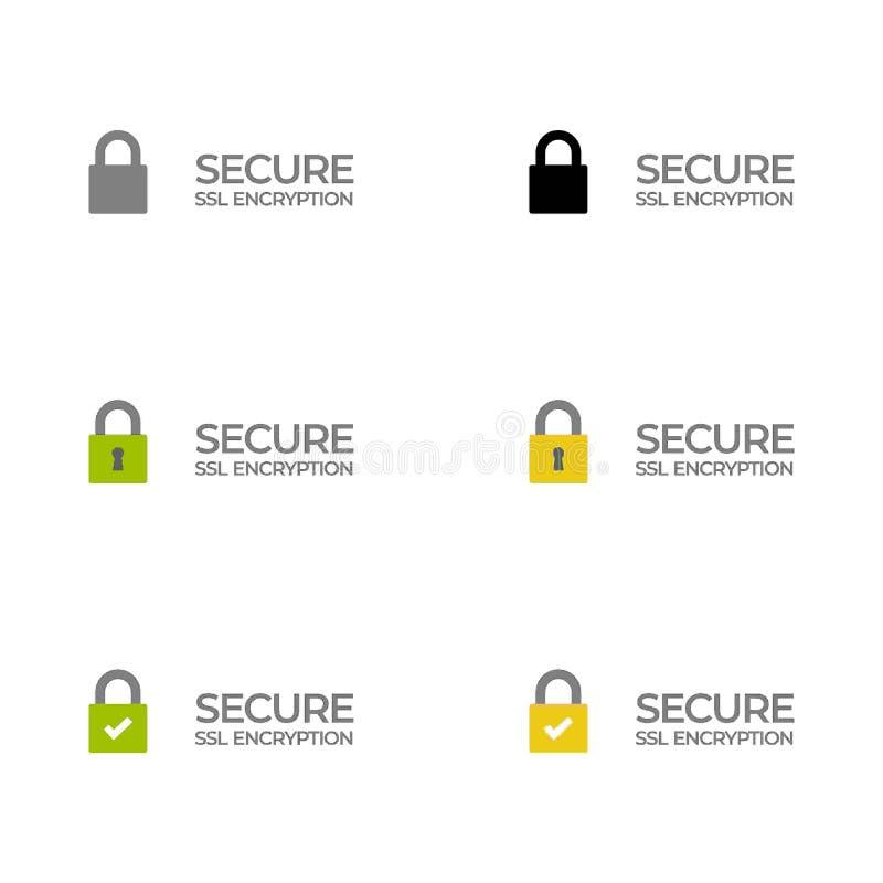 Etiqueta segura /button /bar de la encripción del SSL ilustración del vector