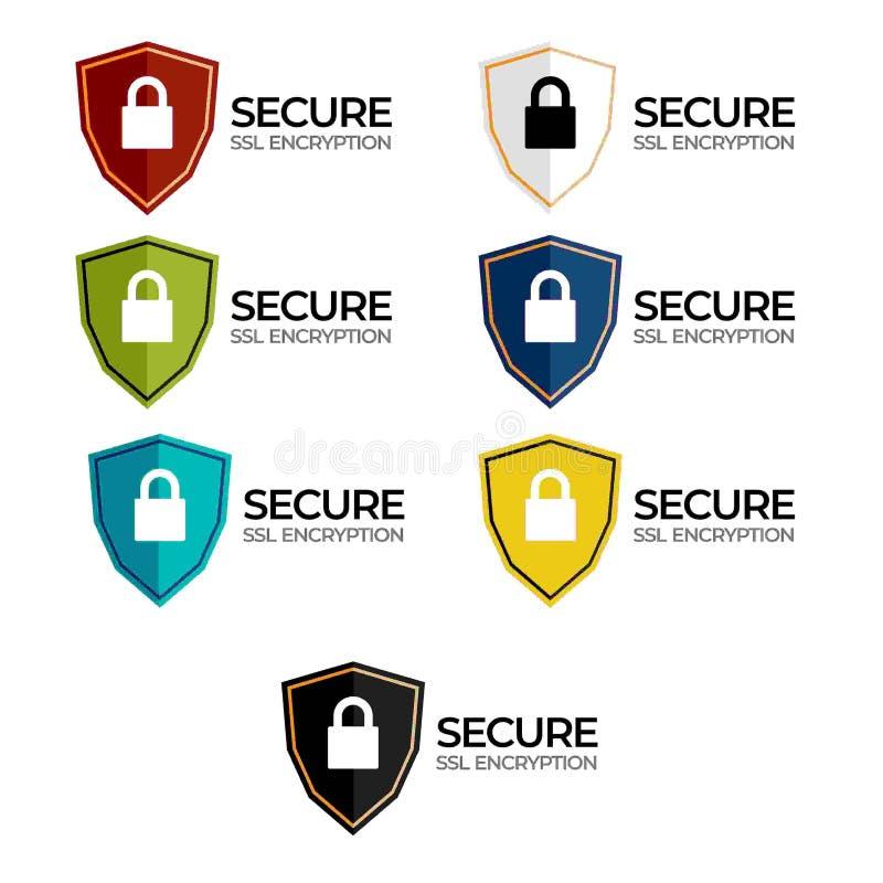 Etiqueta segura /button /bar de la encripción del SSL stock de ilustración