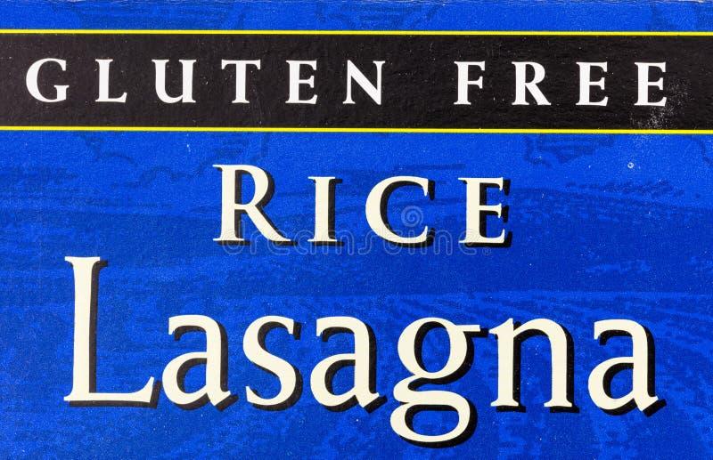 Etiqueta sem gl?ten do alimento da lasanha do arroz ilustração do vetor