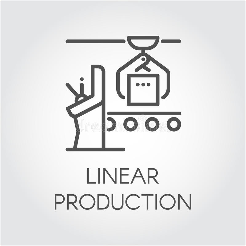 Etiqueta simple del contorno del concepto linear de la producción Alinee el icono o el elemento infographic para diversas necesid libre illustration