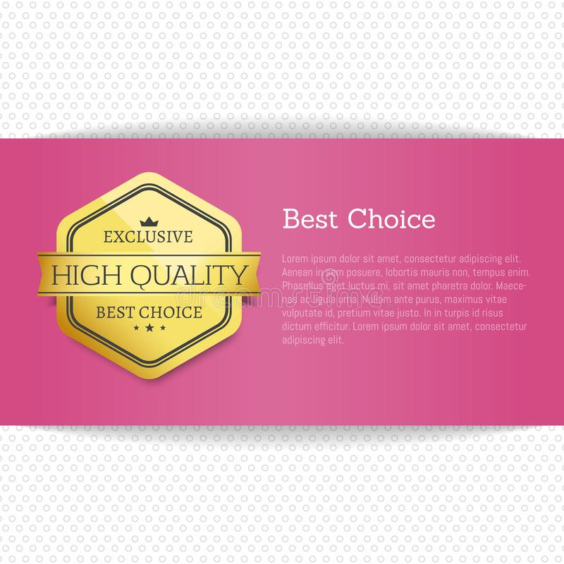 Etiqueta superior da qualidade da melhor oferta bem escolhida do ouro da concessão ilustração royalty free