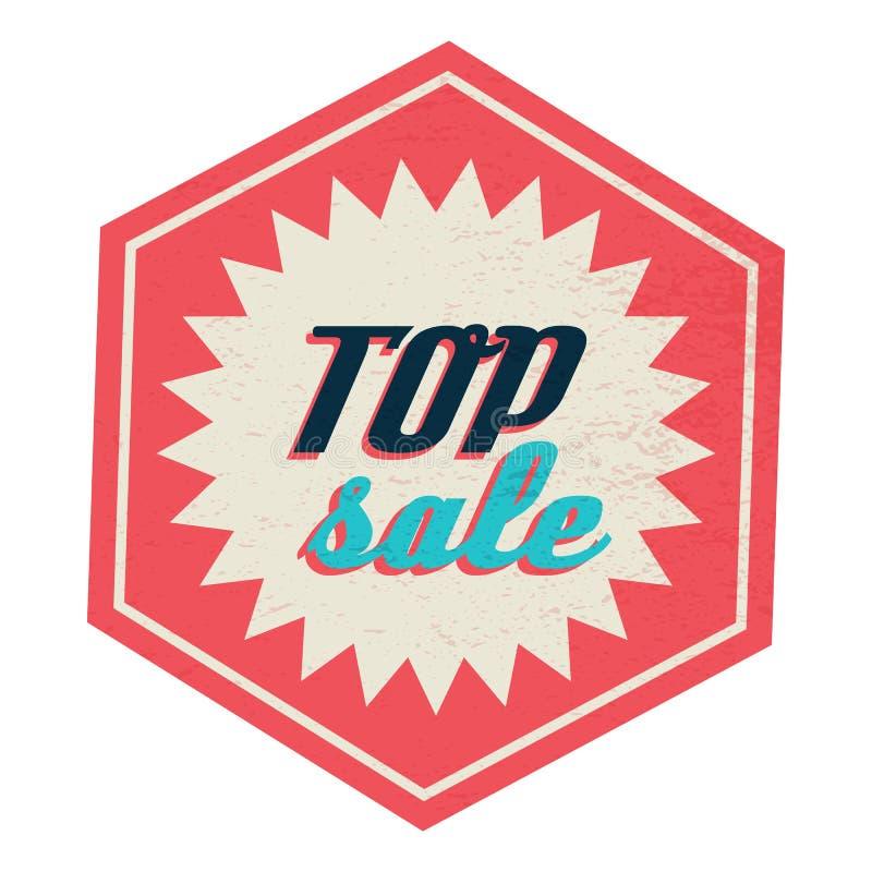 Etiqueta superior de la venta, estilo del vintage stock de ilustración