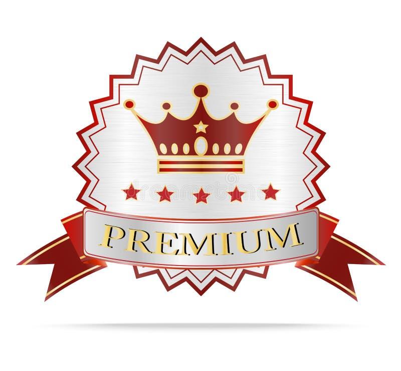 Etiqueta superior de los escudos de la plata de lujo y de la cinta roja stock de ilustración