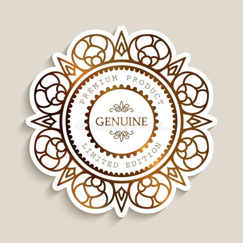 Etiqueta superior do produto com beira do ouro ilustração royalty free