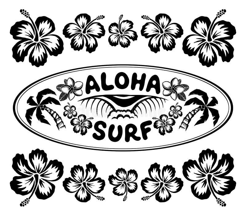 A etiqueta surfando oval do estilo com sinal Aloha Surf e hibiscus floresce o quadro ilustração royalty free