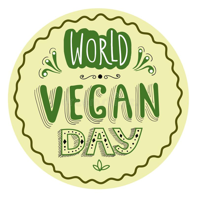 Etiqueta tipográfica tirada mão para o dia do vegetariano do mundo ilustração royalty free