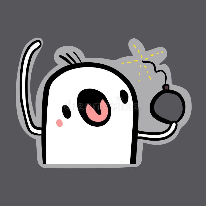 Etiqueta tirada da ilustração da bomba da terra arrendada do marshmallow mão bonito no estilo dos desenhos animados ilustração royalty free