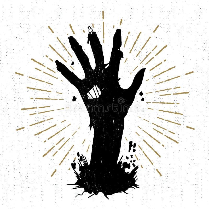 Etiqueta tirada mão de Dia das Bruxas com ilustração textured do vetor ilustração stock
