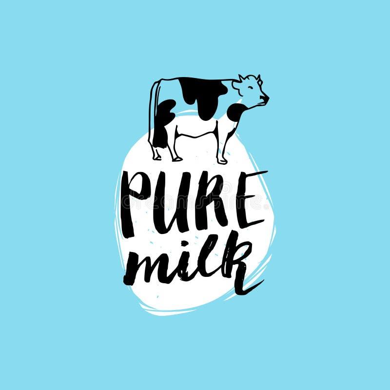 Etiqueta tirada mão do leite do vetor Sinal para o produto de leiteria Etiqueta e elemento para o empacotamento dos produtos, as  ilustração do vetor