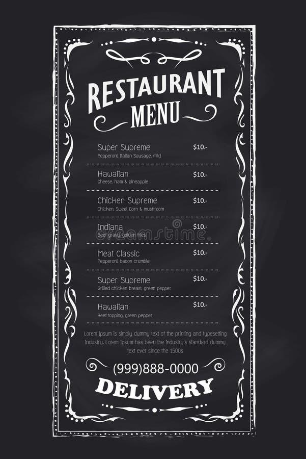 Etiqueta tirada mão do quadro do vintage do quadro-negro do restaurante do menu ilustração stock
