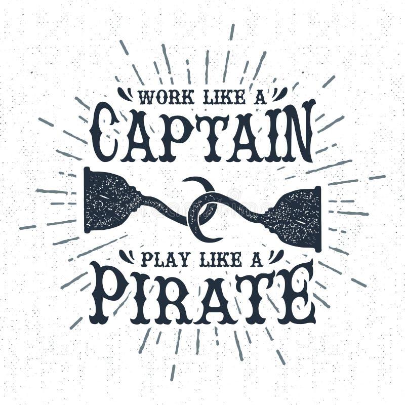 A etiqueta tirada mão do vintage com pirata textured engancha a ilustração do vetor foto de stock royalty free