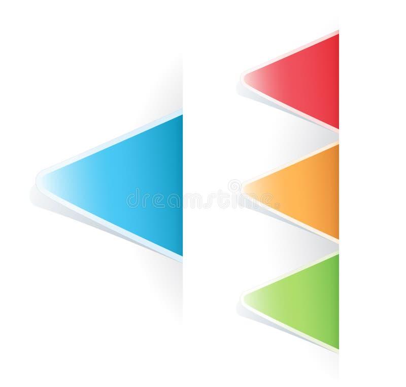 Etiqueta triangular do Tag colorido do vetor ilustração do vetor