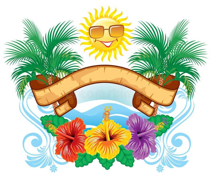 Etiqueta tropical ilustração do vetor