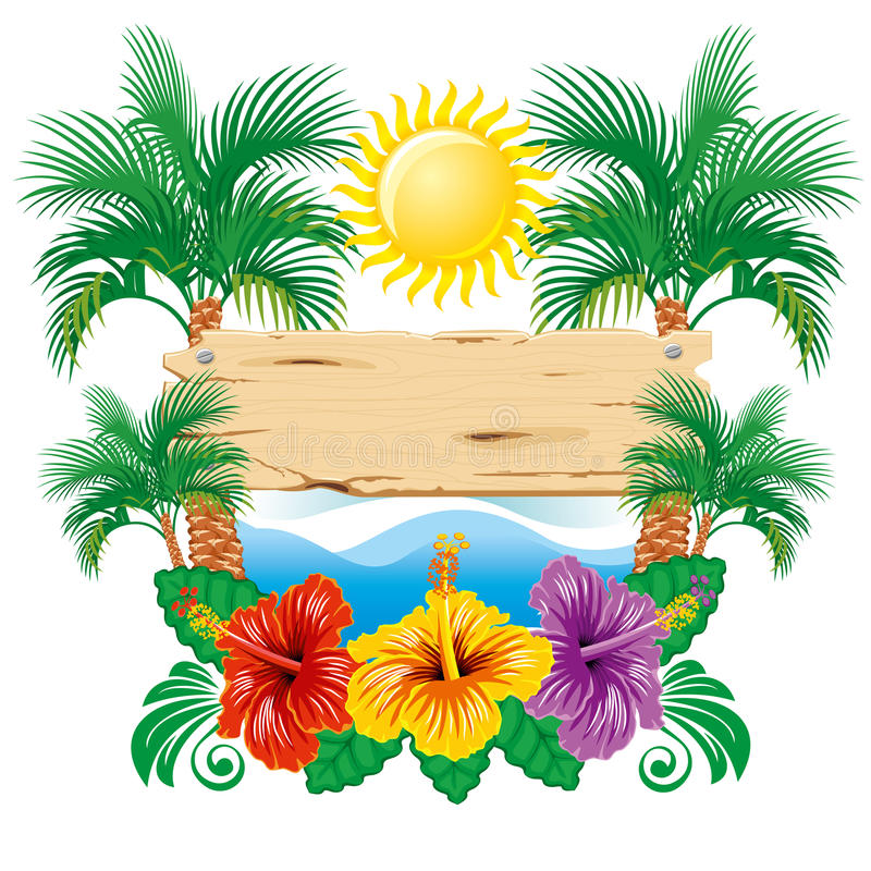 Etiqueta tropical ilustração royalty free