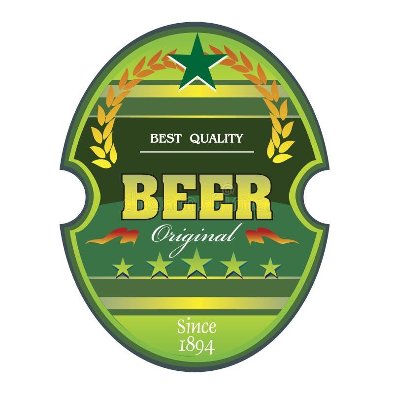Etiqueta verde da cerveja ilustração stock
