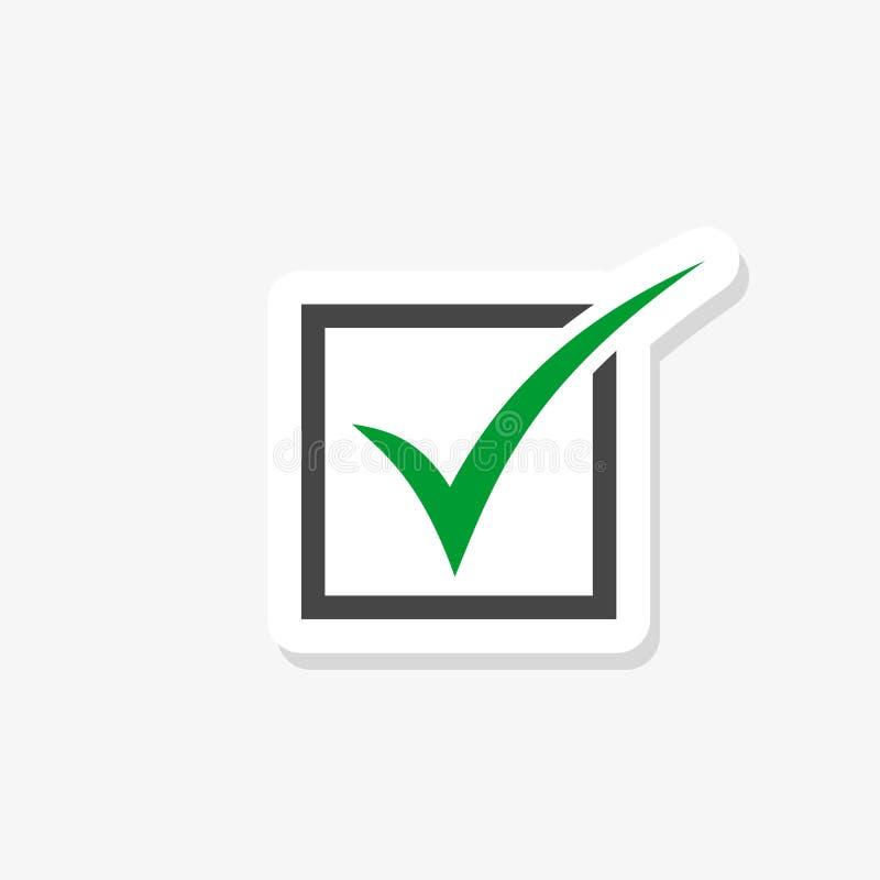 Etiqueta verde da marca de verificação isolada no fundo branco ?cone da marca de verifica??o no estilo na moda do projeto ilustração stock