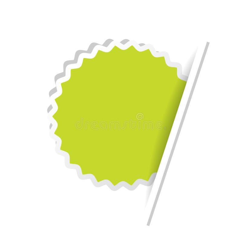 Etiqueta verde de la publicidad Etiqueta engomada circular insertada conforme a la página del Libro Blanco ilustración del vector