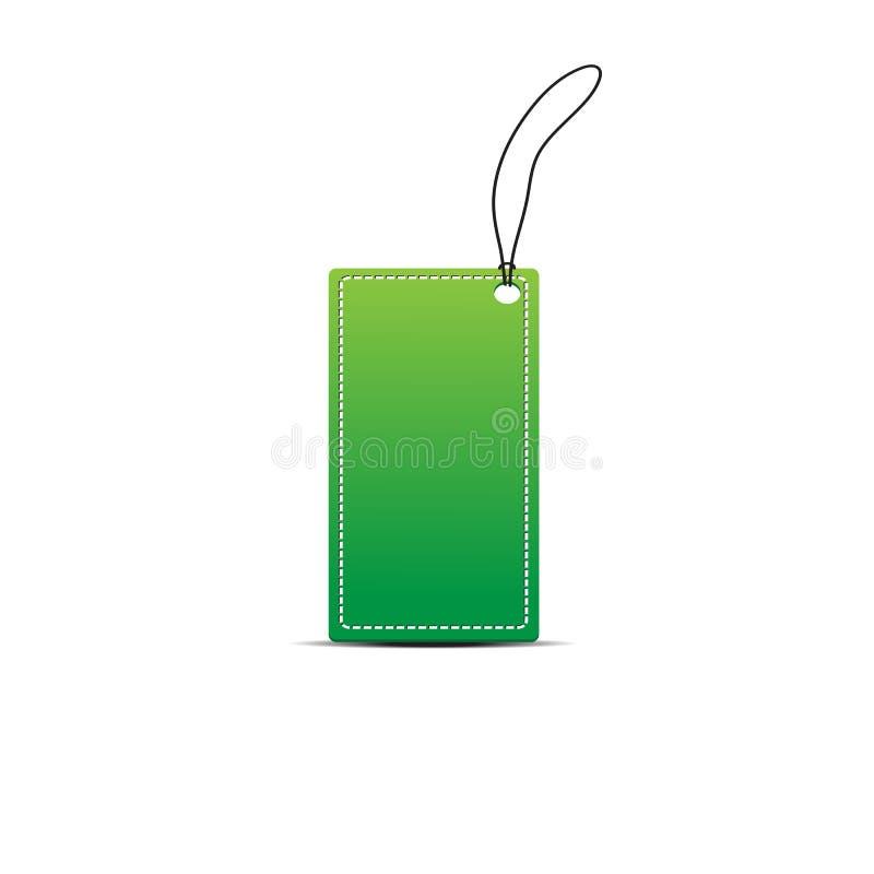 Etiqueta verde en blanco foto de archivo