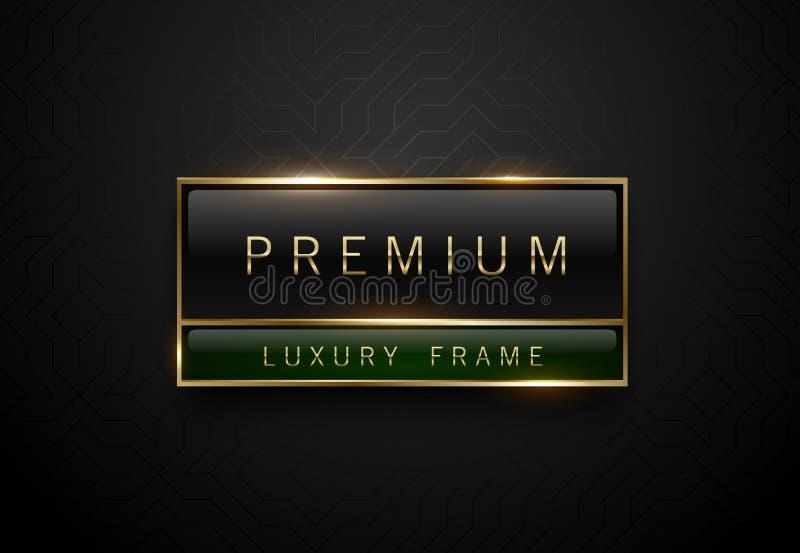 Etiqueta verde negra superior con el marco de oro en fondo geométrico negro Plantilla de lujo oscura del logotipo Ilustración del libre illustration