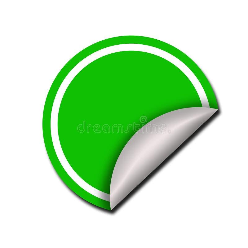 Etiqueta verde redonda fora descascada ilustração royalty free