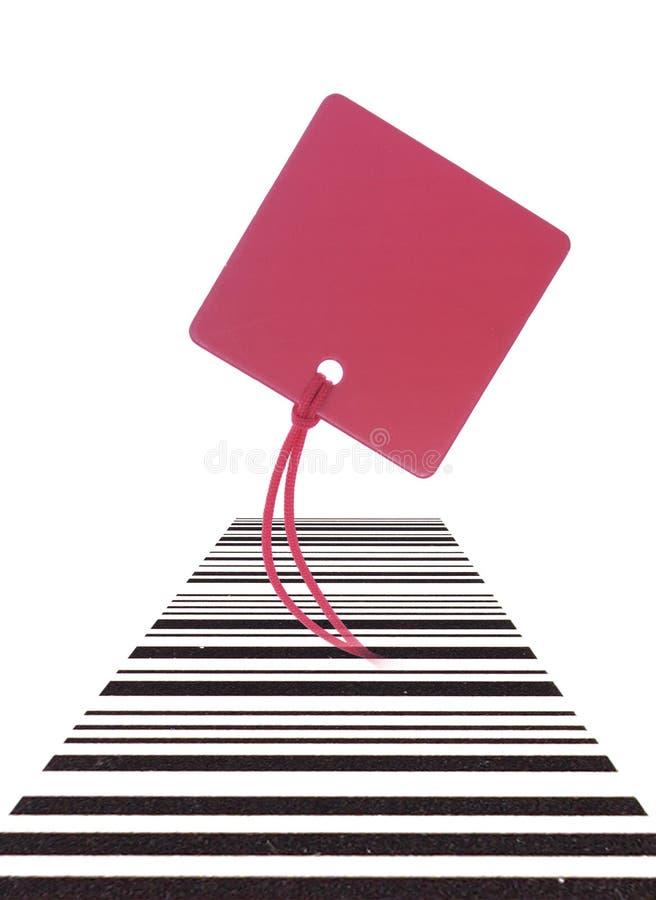 Etiqueta vermelha com código de barras fotos de stock