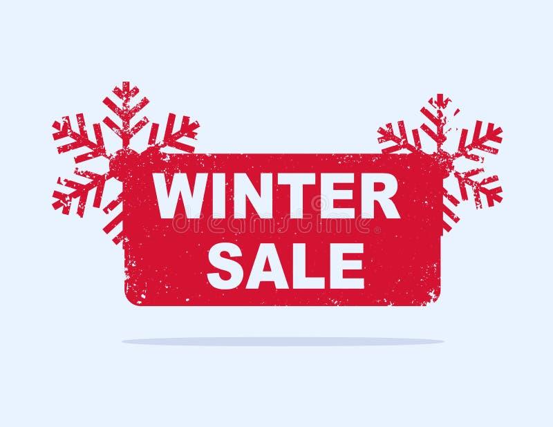Etiqueta vermelha da venda do inverno com flocos de neve ilustração stock