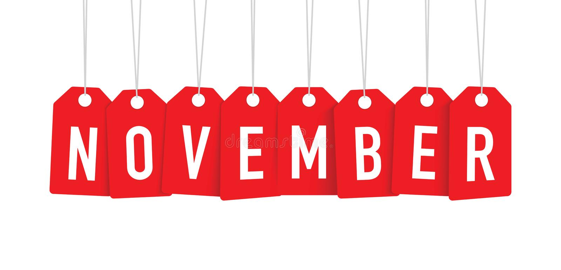 Etiqueta vermelha de novembro ilustração stock