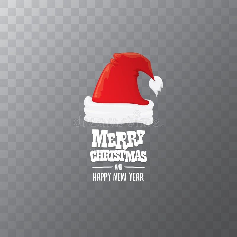Etiqueta vermelha do chapéu de Santa do vetor isolada no fundo transparente com Feliz Natal do texto do cumprimento Desenhos anim ilustração do vetor