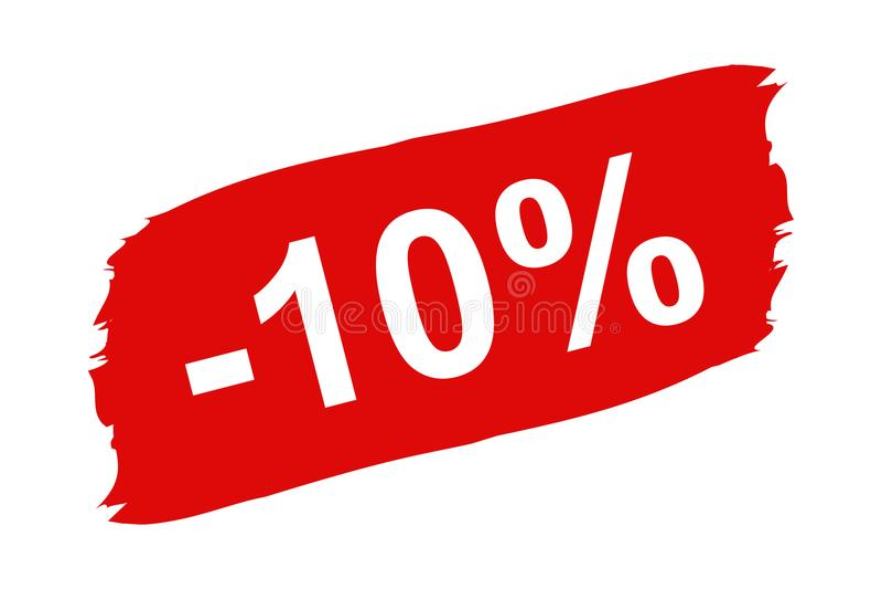 Etiqueta vermelha do disconto 10 por cento - pincelada ajustada - ilustração do vetor - isolada no branco ilustração stock