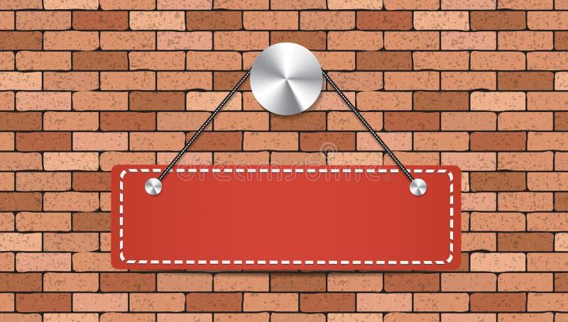A etiqueta vermelha está guardando sobre a parede de tijolo ilustração royalty free