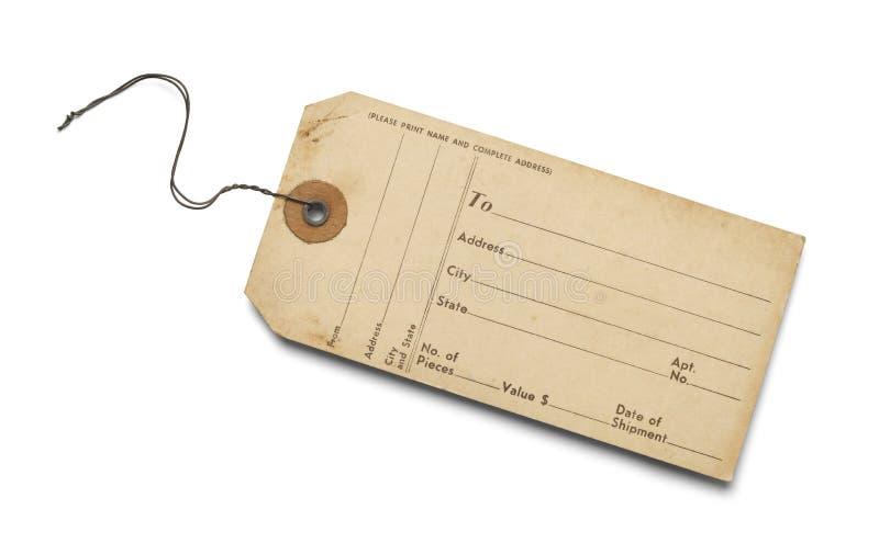Etiqueta vieja del equipaje imagenes de archivo