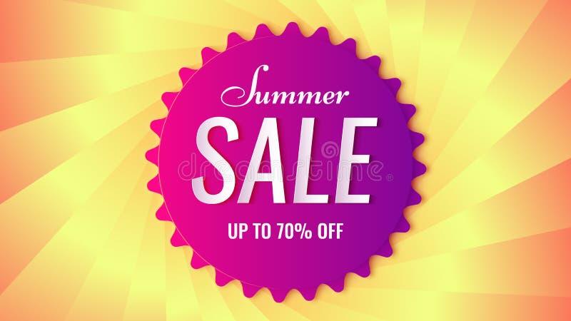 Etiqueta violeta en el contexto texturizado, fondo del vector 3d de la venta del verano ilustración del vector