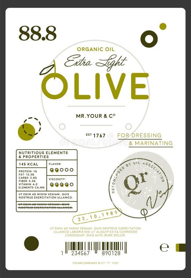 Etiqueta virgem extra do azeite da qualidade superior ilustração do vetor