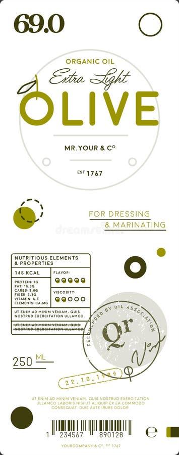 Etiqueta virgem extra natural do azeite ilustração do vetor
