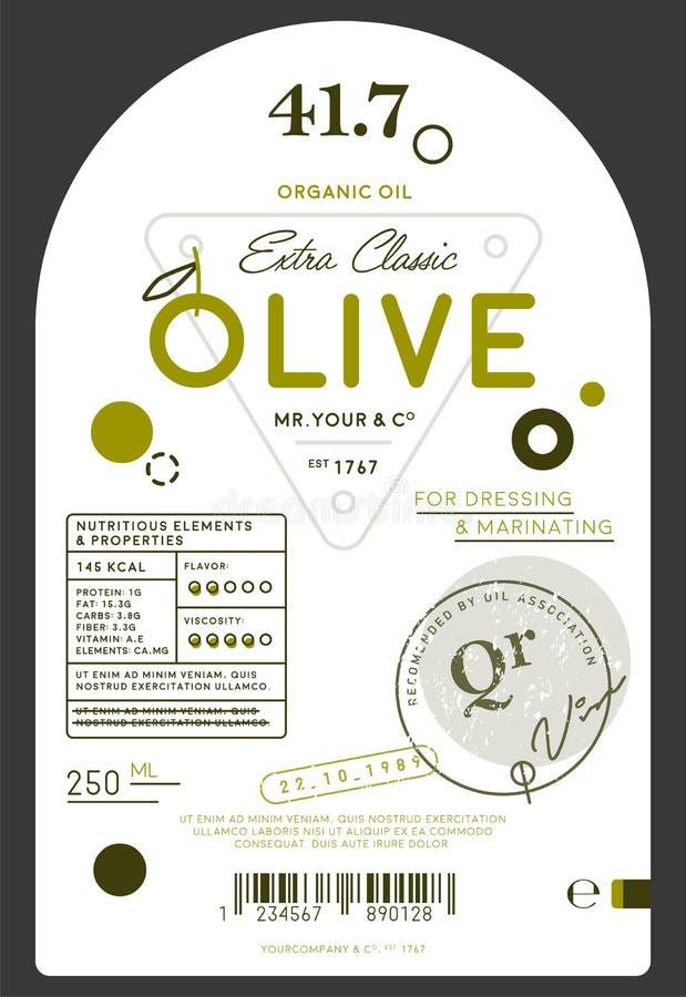 Etiqueta virgem extra orgânica do azeite ilustração stock