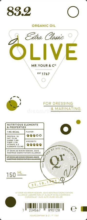 Etiqueta virgem extra superior do azeite ilustração stock