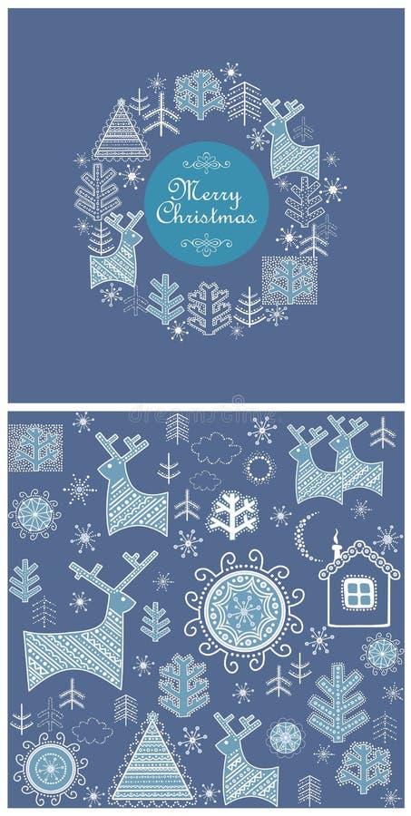 Etiqueta y papel pintado azules decorativos de la Navidad con los árboles, los abetos, los ciervos y los copos de nieve decorativ stock de ilustración