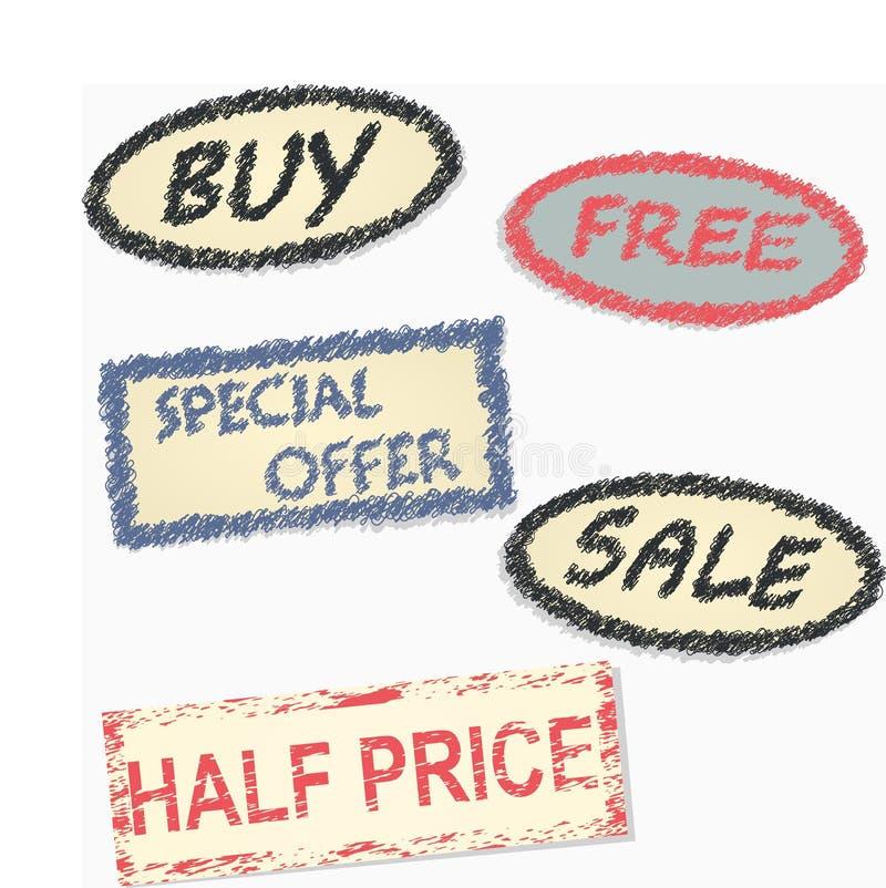 Etiquetado desde la venta de mercancías stock de ilustración