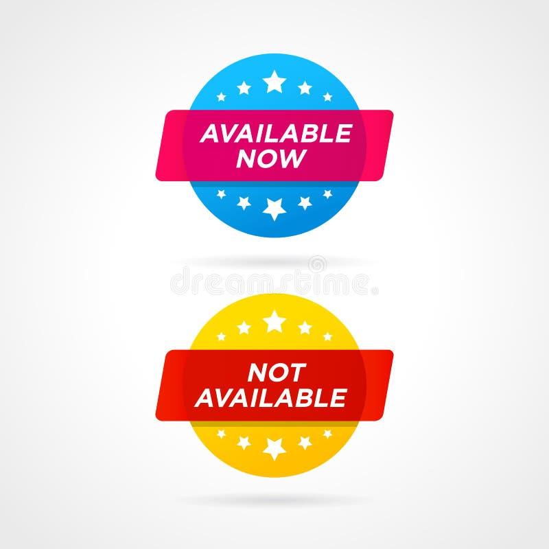 Etiquetas ahora y no disponibles disponibles Ejemplo del vector en estilo plano stock de ilustración