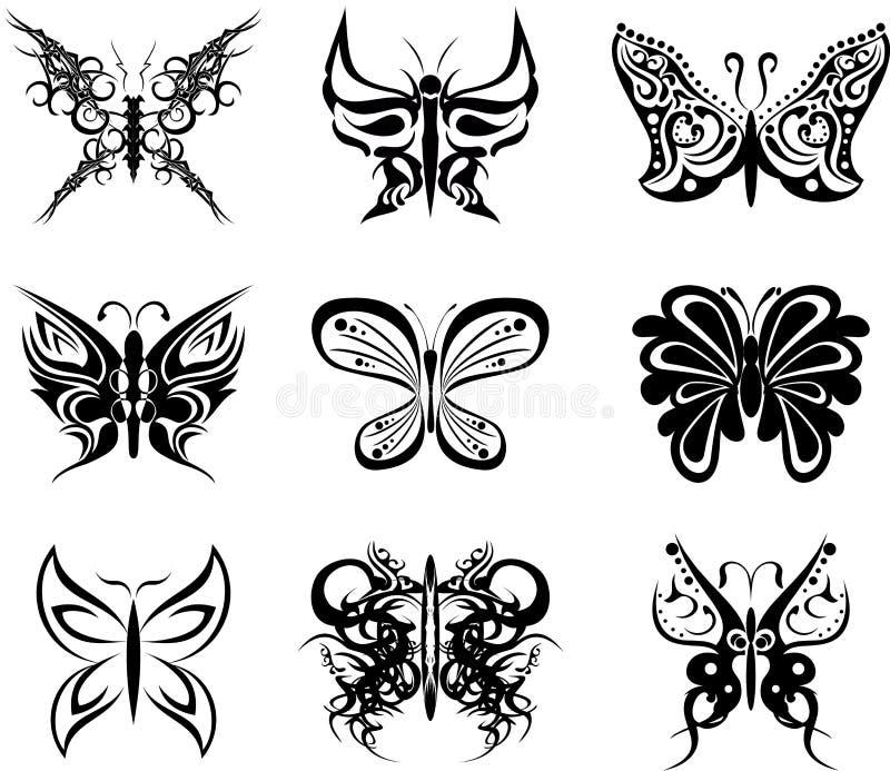 Etiquetas ajustadas do bloco da tatuagem da borboleta ilustração stock