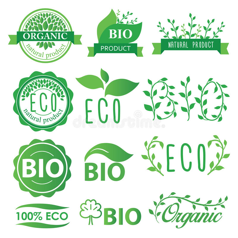 Etiquetas ajustadas do verde, do eco, as bio e as orgânicas ilustração do vetor