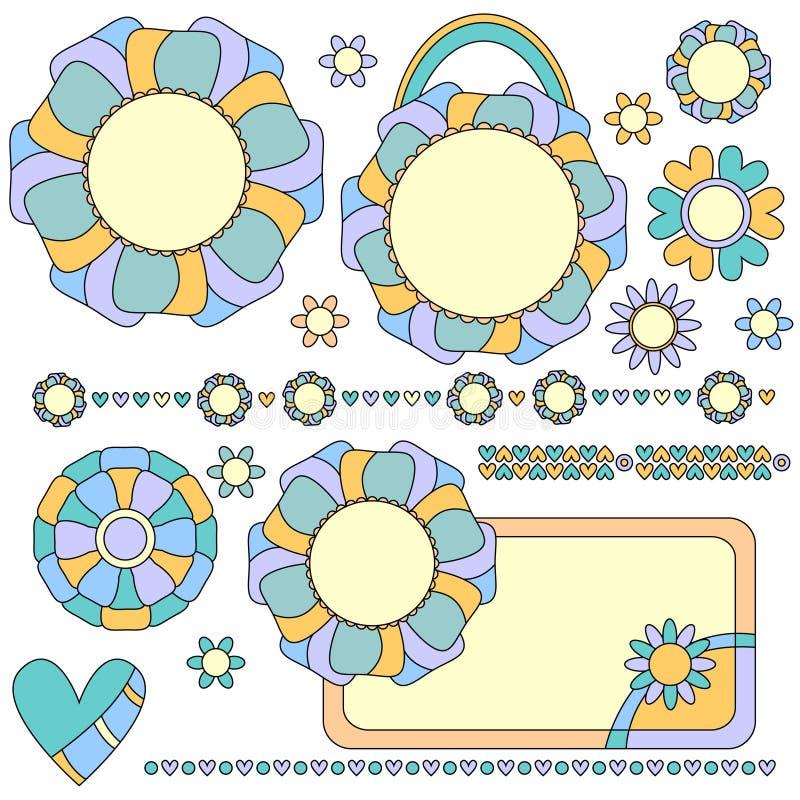 Etiquetas, ajustes y decoraciones coloridos con las flores y los corazones stock de ilustración