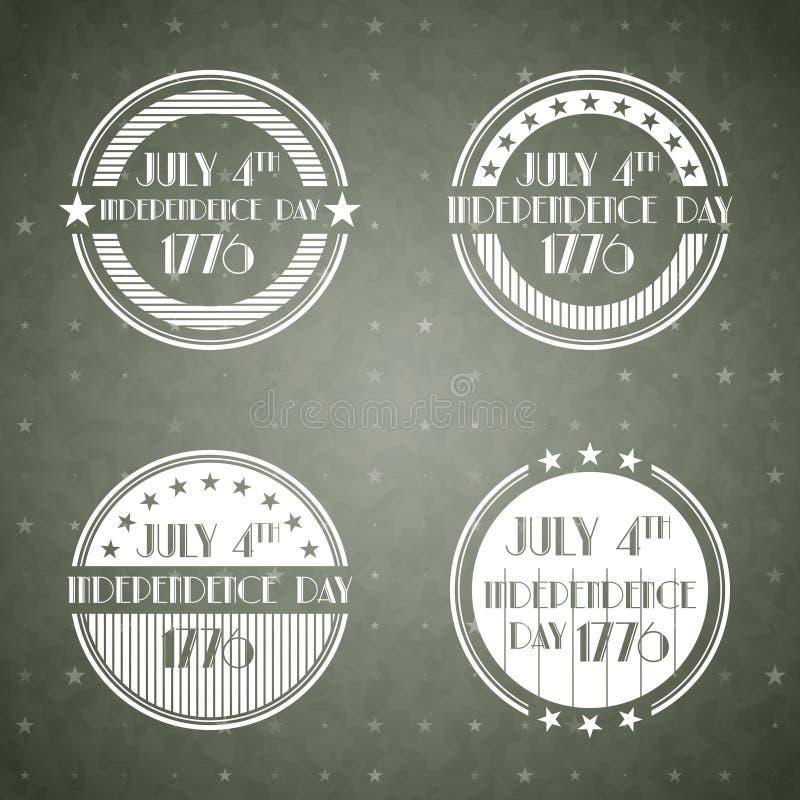 Etiquetas americanas do Dia da Independência ilustração stock