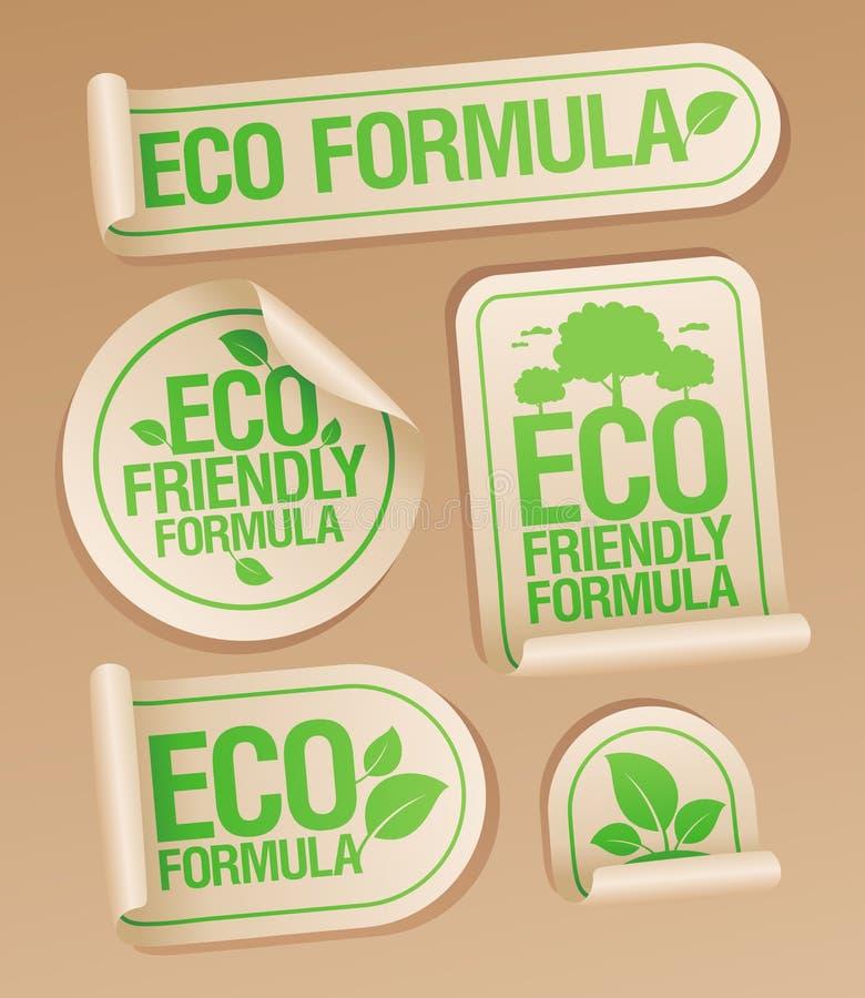Etiquetas amigáveis da fórmula de Eco ilustração stock