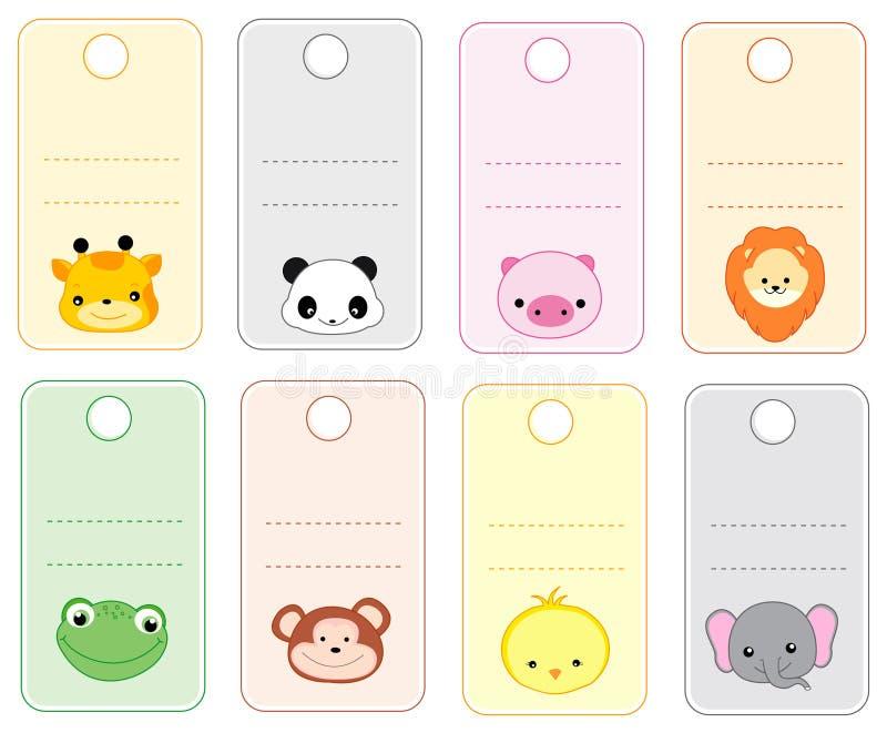Etiquetas animales del regalo stock de ilustración