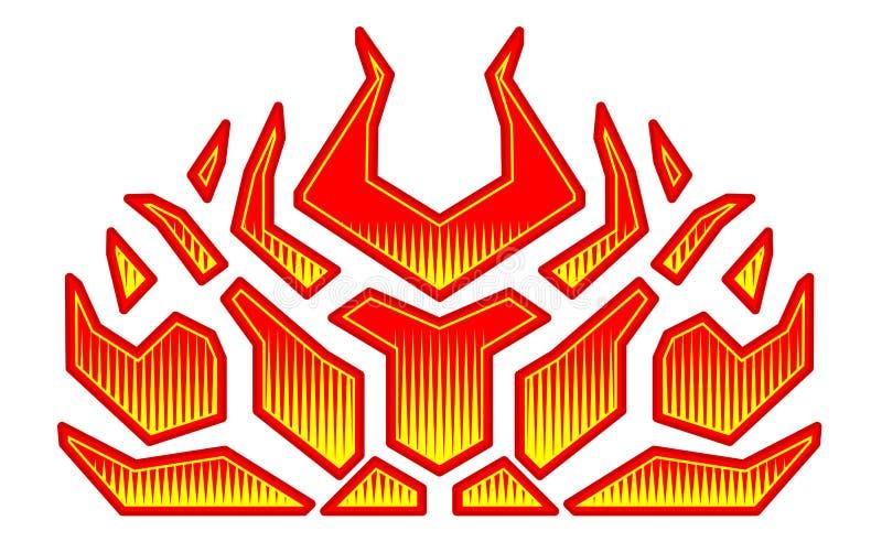 Etiquetas ardientes del fuego para la capilla del coche Rod caliente que compite con las llamas Llamas tribales listas del vinilo ilustración del vector