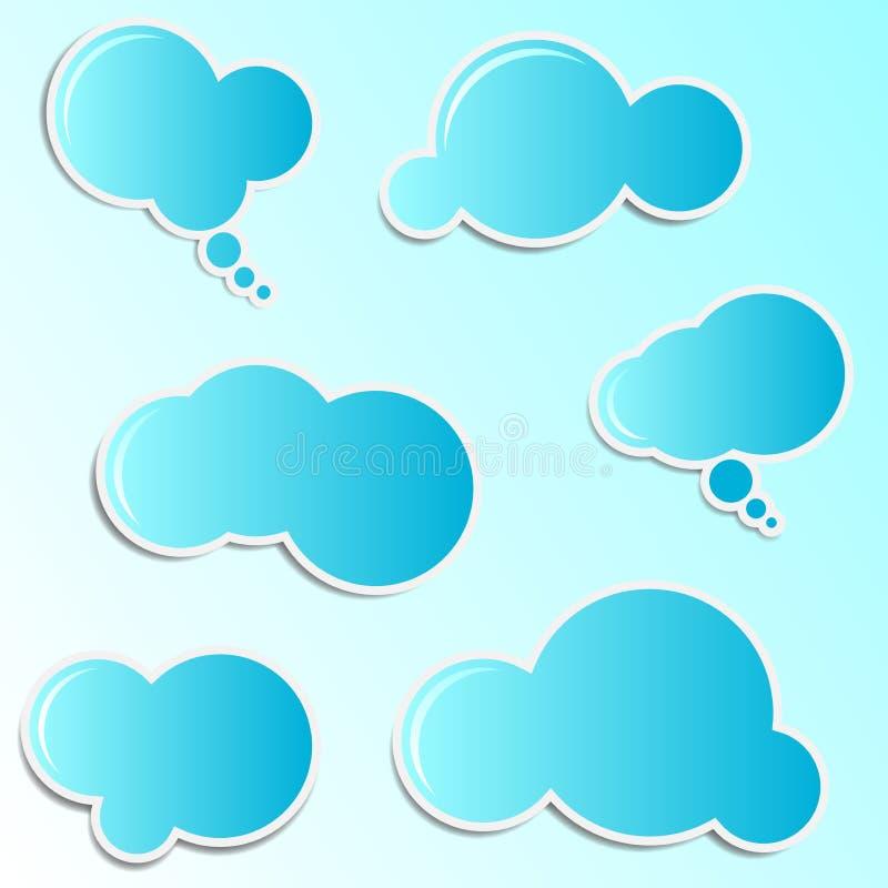 Etiquetas azuis da nuvem ilustração royalty free