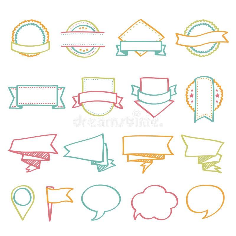 Etiquetas, banderas y mano de los sellos dibujada ilustración del vector