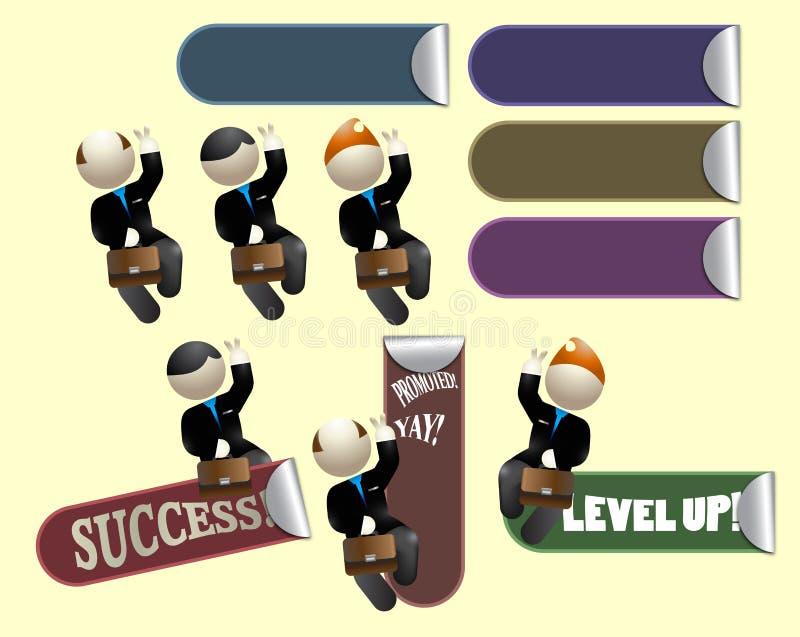Etiquetas bem sucedidas alegres dos trabalhadores do vendedor ajustadas ilustração do vetor